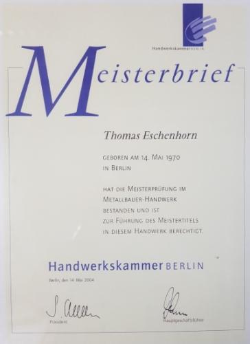 Meisterbrief Eschenhorn