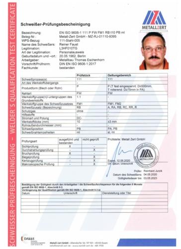 Schweisserzeugnis Reiner Faust PB 05-20