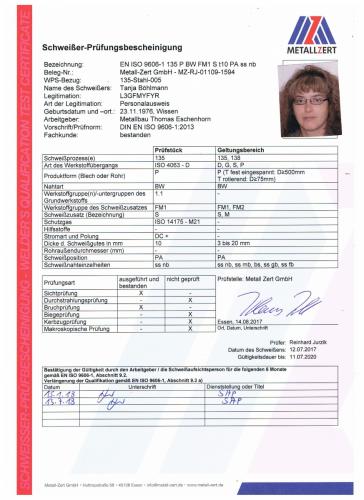 Schweisserzeugnis Tanja Böhlmann PA 07-18 001