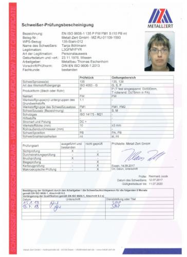 Schweisserzeugnis Tanja Böhlmann PB 07-18 001