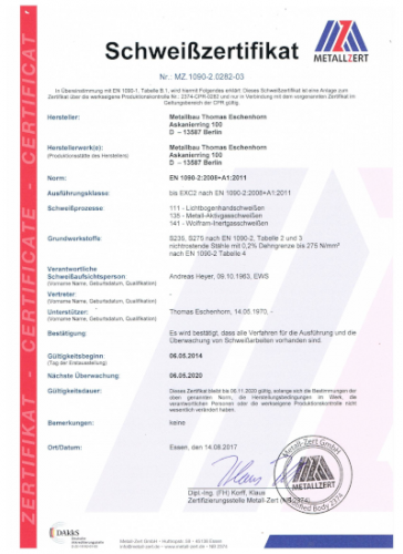 Schweisszertifikat 08 - 17 001