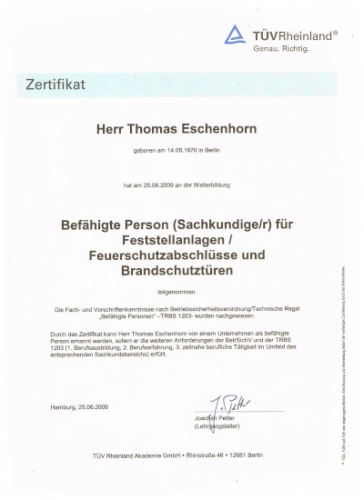 Zertifikat BS TÜV Rheinland