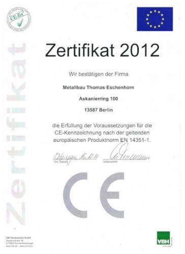 Zertifikat EN 14351-1
