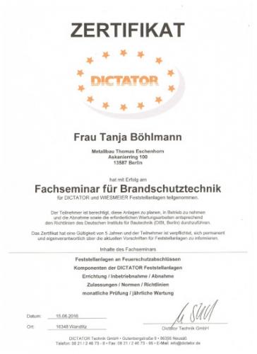 Zertifikat Böhlmann Brandschutz 06-16