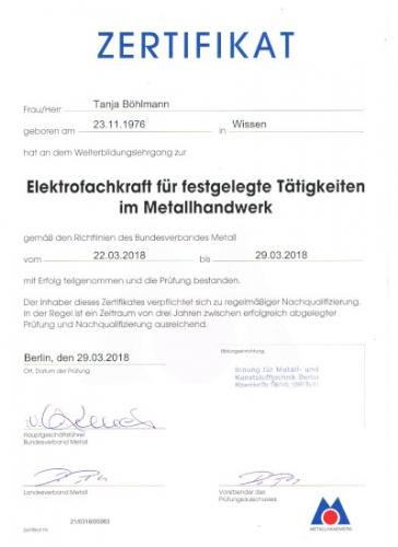 Zertifikat Böhlmann EFK 03-18