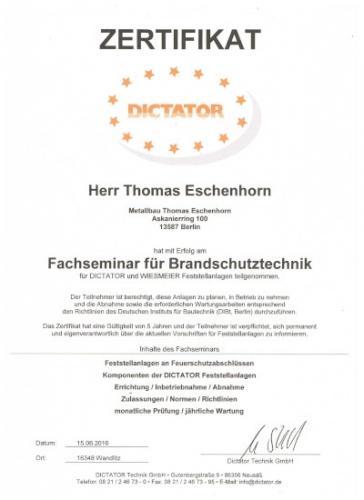 Zertifikat Thomas Eschenhorn Brandschutz