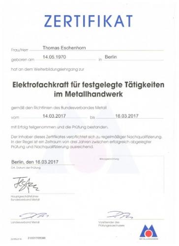 Zertifikat Thomas Eschenhorn EFK 03-17